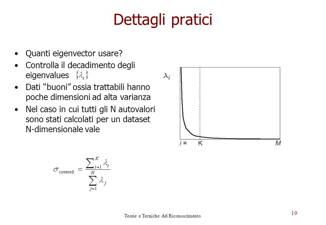 19 Dettagli pratici KMi = Quanti eigenvector usare? Controlla il decadimento degli eigenvalues Dati buoni ossia trattabili hanno poche dimensioni ad a