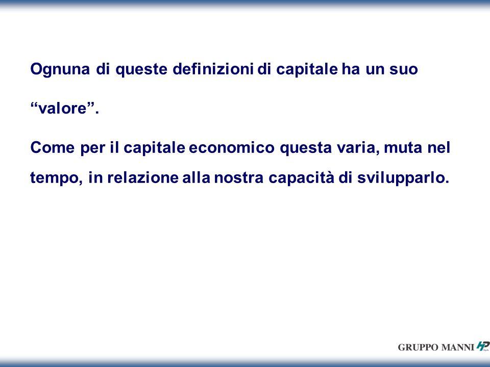 Ognuna di queste definizioni di capitale ha un suo valore.