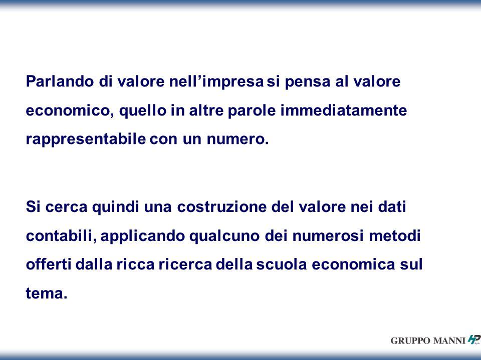 Parlando di valore nellimpresa si pensa al valore economico, quello in altre parole immediatamente rappresentabile con un numero.