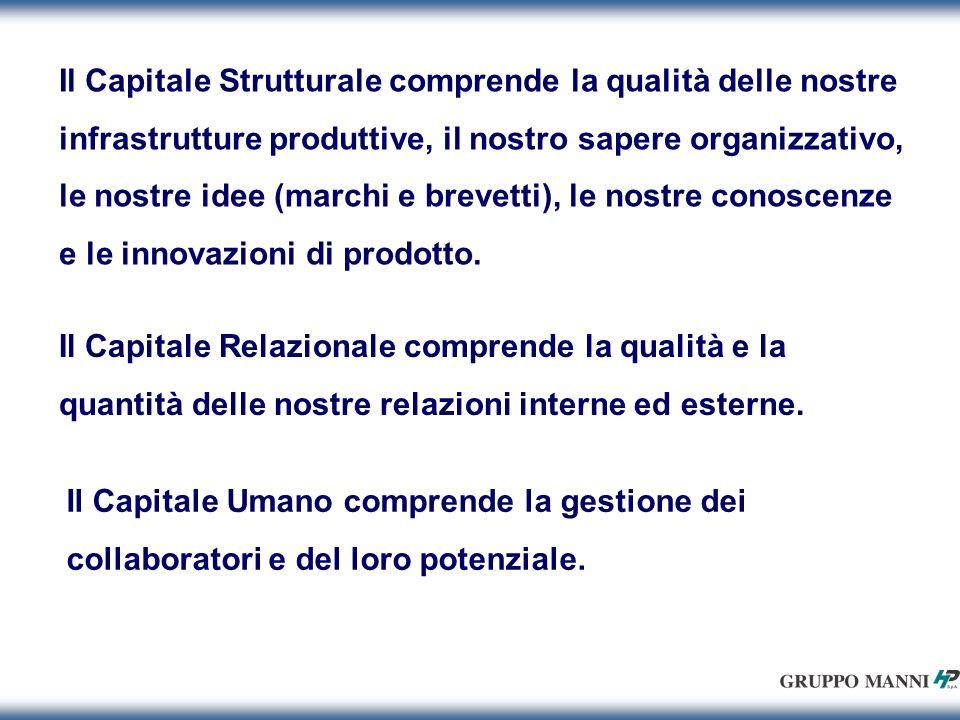 Il Capitale Strutturale comprende la qualità delle nostre infrastrutture produttive, il nostro sapere organizzativo, le nostre idee (marchi e brevetti), le nostre conoscenze e le innovazioni di prodotto.