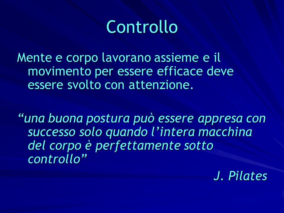 Controllo Mente e corpo lavorano assieme e il movimento per essere efficace deve essere svolto con attenzione.