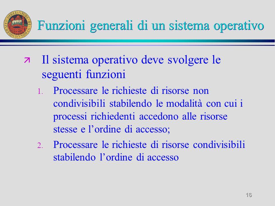 16 Funzioni generali di un sistema operativo ä Il sistema operativo deve svolgere le seguenti funzioni 1.