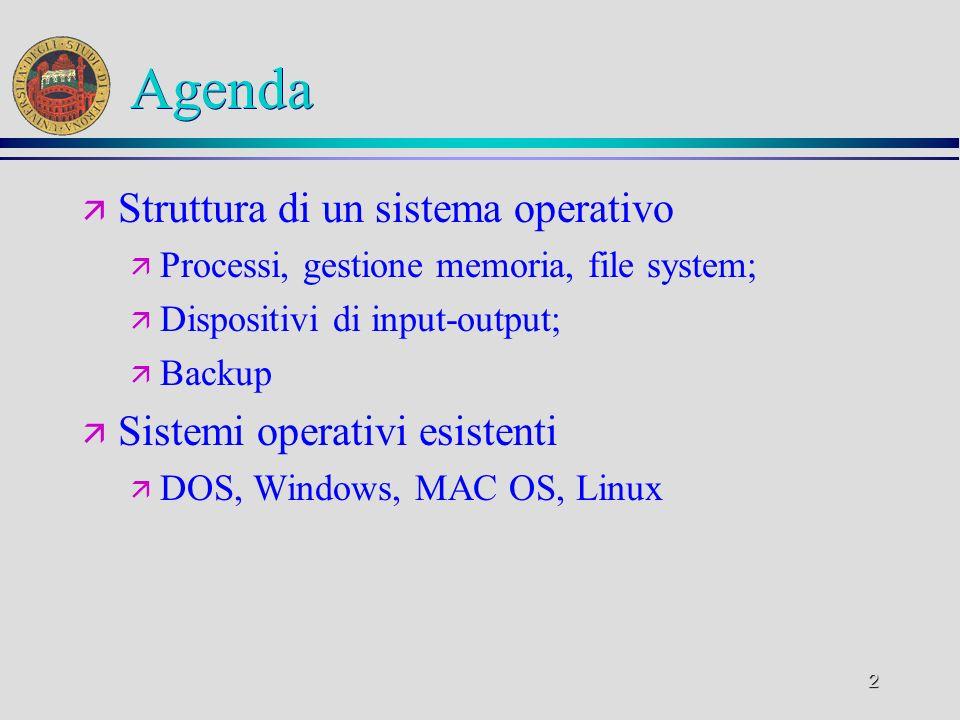 2 Agenda ä Struttura di un sistema operativo ä Processi, gestione memoria, file system; ä Dispositivi di input-output; ä Backup ä Sistemi operativi esistenti ä DOS, Windows, MAC OS, Linux
