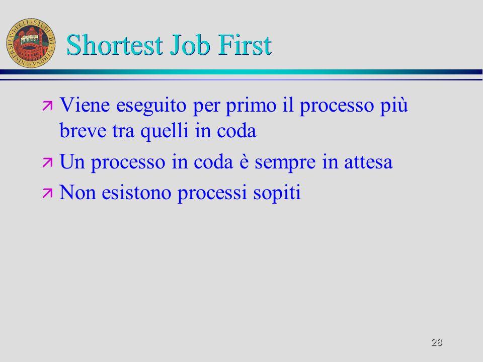 28 Shortest Job First ä Viene eseguito per primo il processo più breve tra quelli in coda ä Un processo in coda è sempre in attesa ä Non esistono processi sopiti