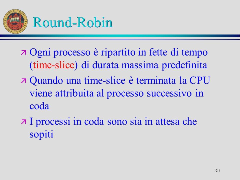 30 Round-Robin ä Ogni processo è ripartito in fette di tempo (time-slice) di durata massima predefinita ä Quando una time-slice è terminata la CPU viene attribuita al processo successivo in coda ä I processi in coda sono sia in attesa che sopiti