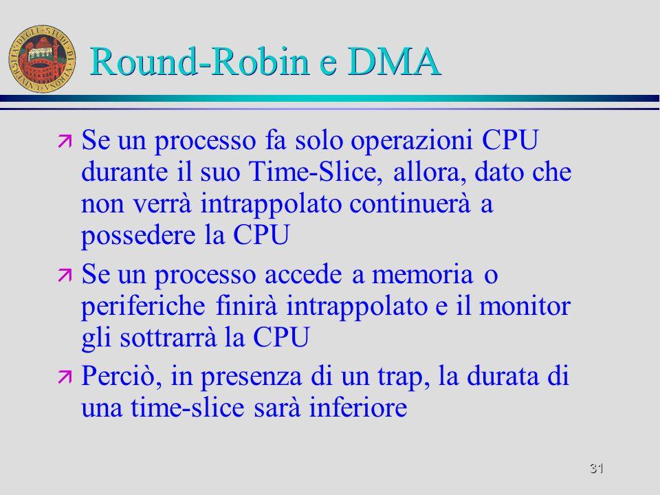 31 Round-Robin e DMA ä Se un processo fa solo operazioni CPU durante il suo Time-Slice, allora, dato che non verrà intrappolato continuerà a possedere la CPU ä Se un processo accede a memoria o periferiche finirà intrappolato e il monitor gli sottrarrà la CPU ä Perciò, in presenza di un trap, la durata di una time-slice sarà inferiore