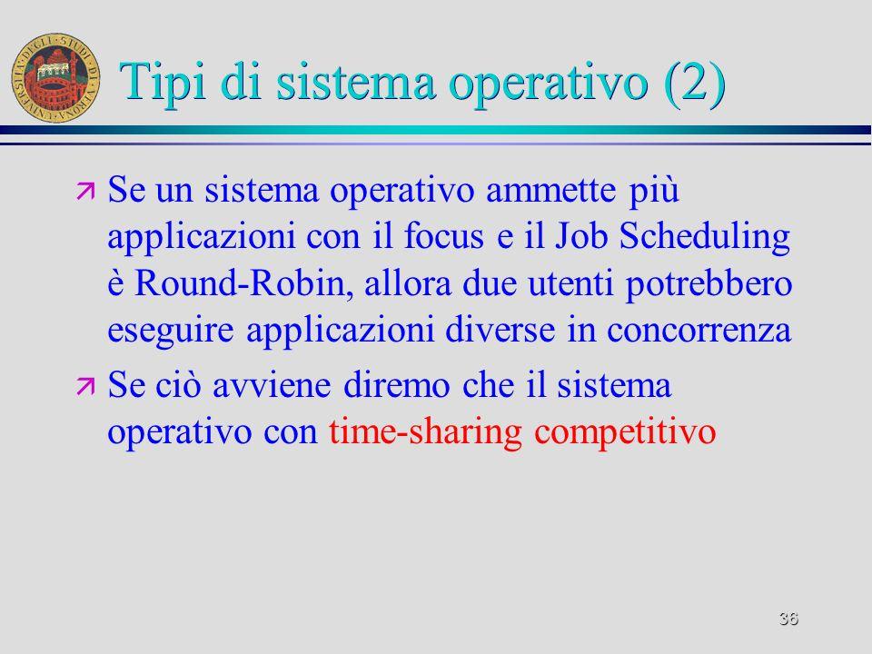 36 Tipi di sistema operativo (2) ä Se un sistema operativo ammette più applicazioni con il focus e il Job Scheduling è Round-Robin, allora due utenti potrebbero eseguire applicazioni diverse in concorrenza ä Se ciò avviene diremo che il sistema operativo con time-sharing competitivo