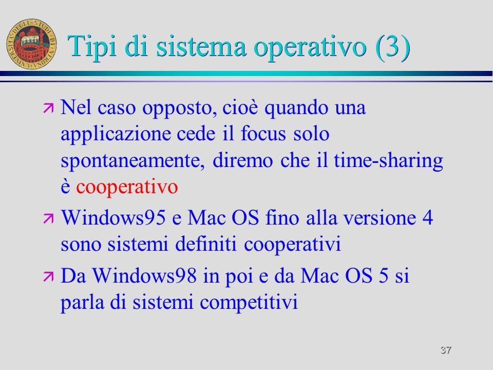 37 Tipi di sistema operativo (3) ä Nel caso opposto, cioè quando una applicazione cede il focus solo spontaneamente, diremo che il time-sharing è cooperativo ä Windows95 e Mac OS fino alla versione 4 sono sistemi definiti cooperativi ä Da Windows98 in poi e da Mac OS 5 si parla di sistemi competitivi
