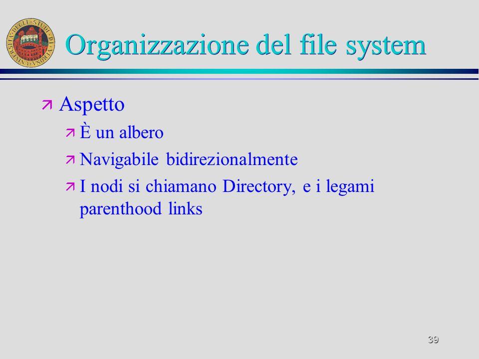 39 Organizzazione del file system ä Aspetto ä È un albero ä Navigabile bidirezionalmente ä I nodi si chiamano Directory, e i legami parenthood links