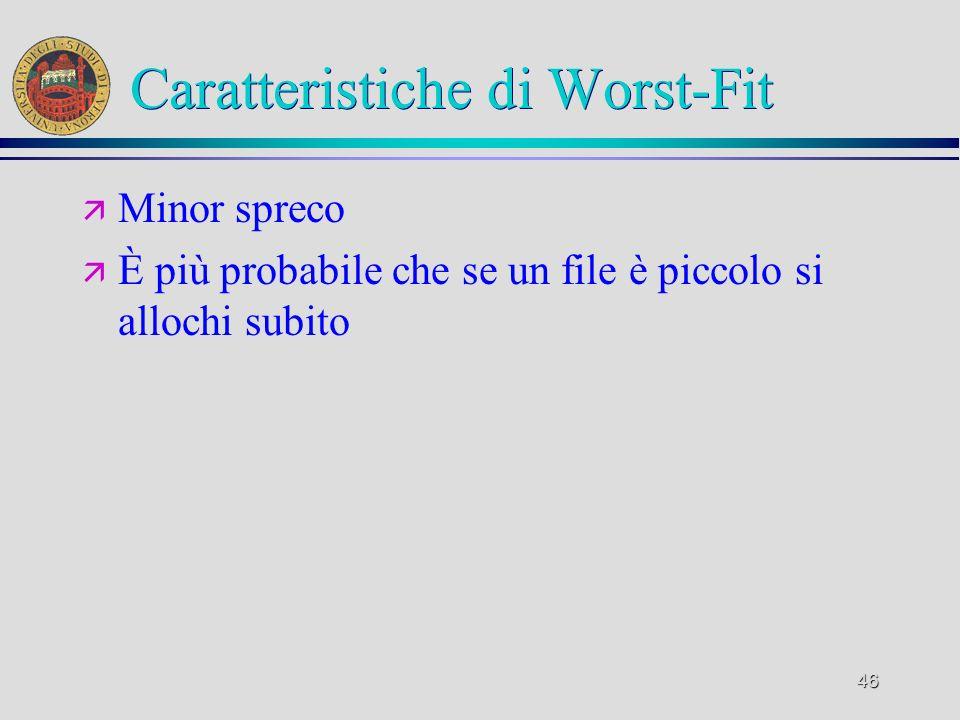 46 Caratteristiche di Worst-Fit ä Minor spreco ä È più probabile che se un file è piccolo si allochi subito