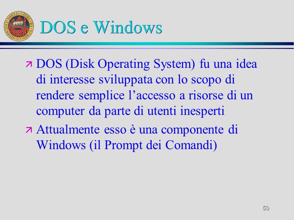 50 DOS e Windows ä DOS (Disk Operating System) fu una idea di interesse sviluppata con lo scopo di rendere semplice laccesso a risorse di un computer da parte di utenti inesperti ä Attualmente esso è una componente di Windows (il Prompt dei Comandi)