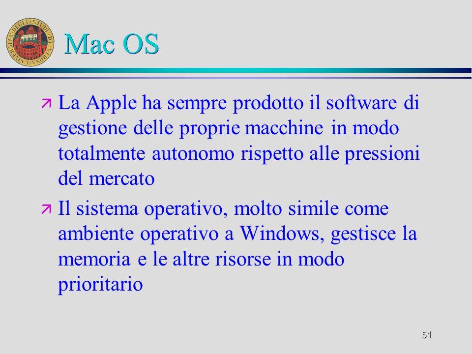 51 Mac OS ä La Apple ha sempre prodotto il software di gestione delle proprie macchine in modo totalmente autonomo rispetto alle pressioni del mercato ä Il sistema operativo, molto simile come ambiente operativo a Windows, gestisce la memoria e le altre risorse in modo prioritario