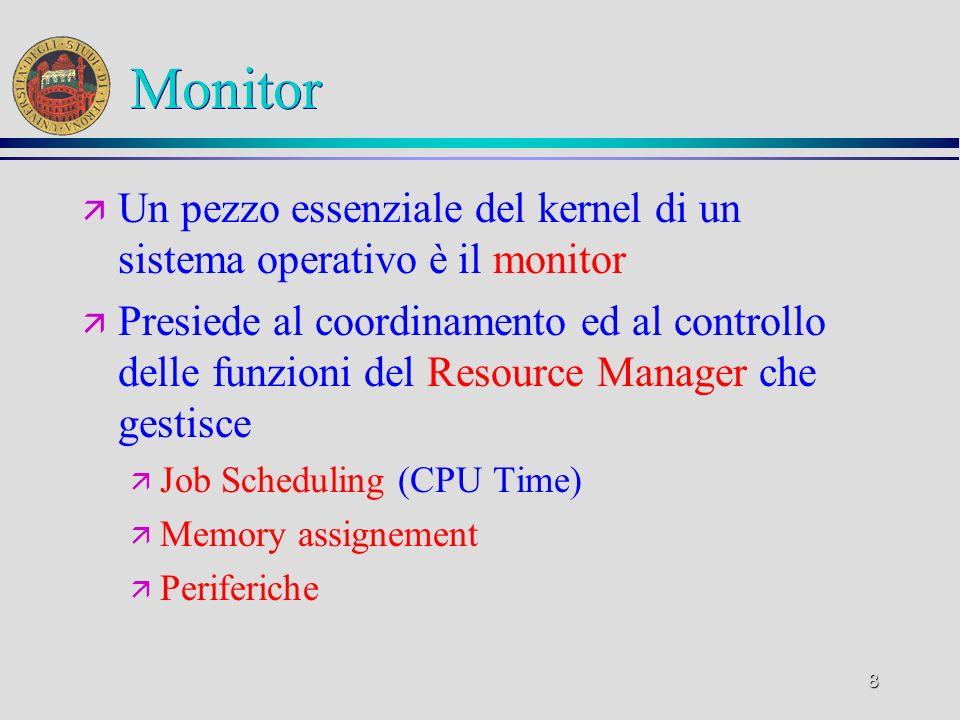 8 Monitor ä Un pezzo essenziale del kernel di un sistema operativo è il monitor ä Presiede al coordinamento ed al controllo delle funzioni del Resource Manager che gestisce ä Job Scheduling (CPU Time) ä Memory assignement ä Periferiche