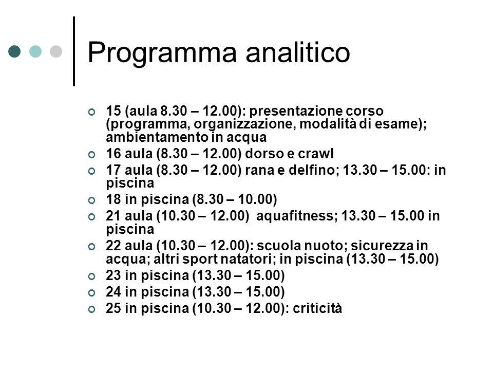 Programma analitico 15 (aula 8.30 – 12.00): presentazione corso (programma, organizzazione, modalità di esame); ambientamento in acqua 16 aula (8.30 –