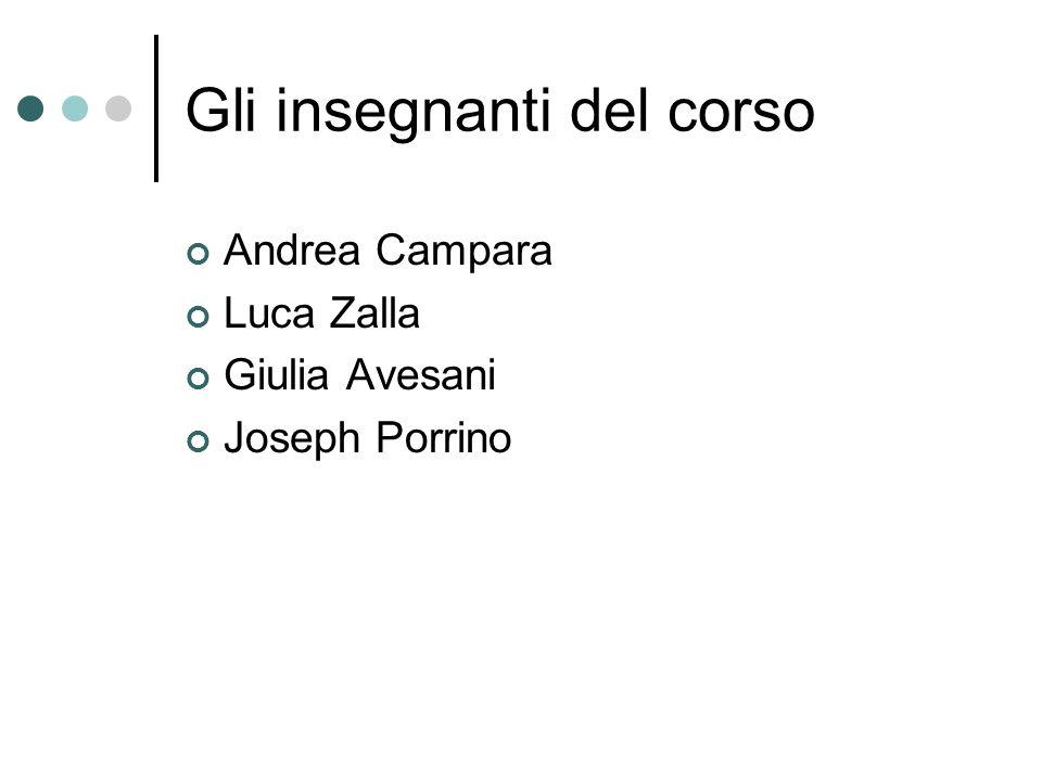 Gli insegnanti del corso Andrea Campara Luca Zalla Giulia Avesani Joseph Porrino