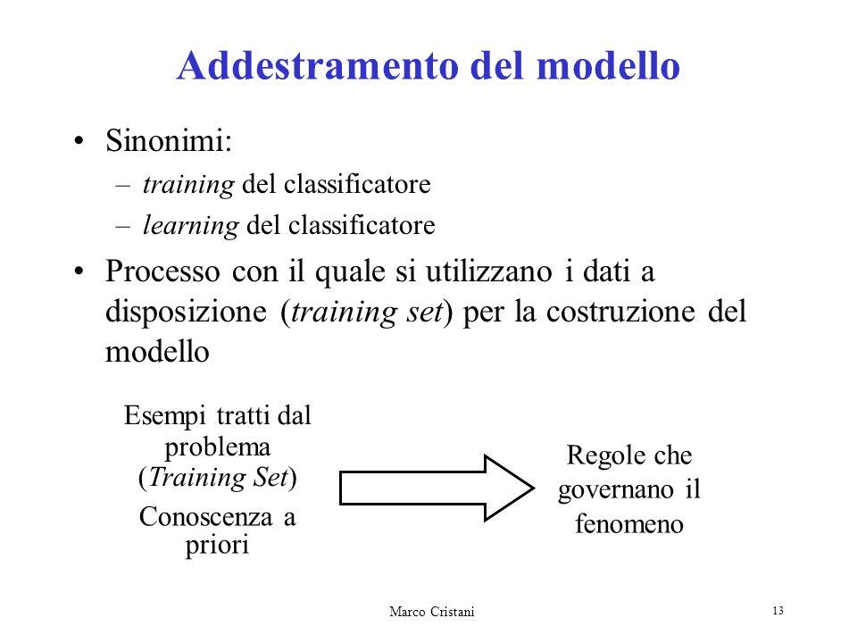 Marco Cristani 13 Addestramento del modello Sinonimi: –training del classificatore –learning del classificatore Processo con il quale si utilizzano i