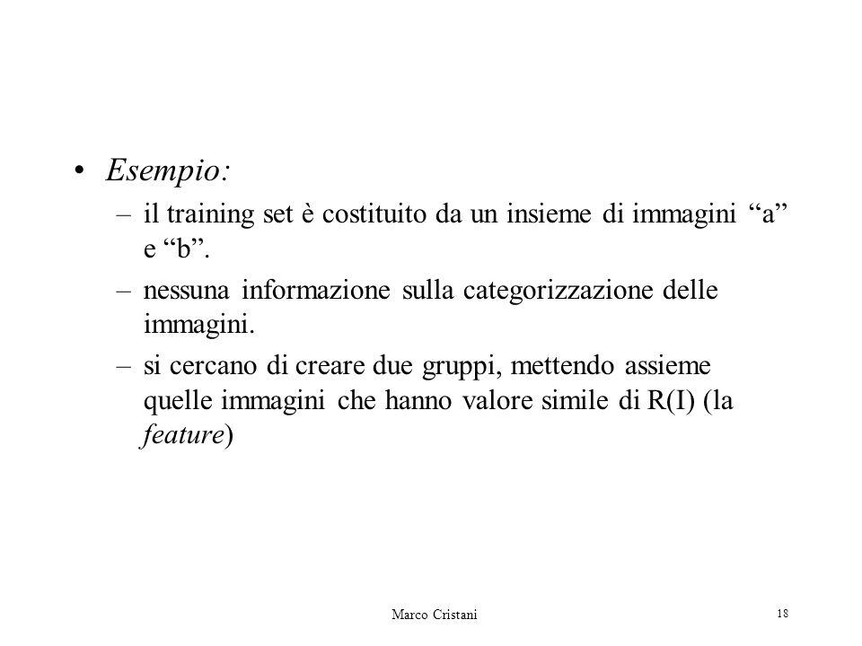 Marco Cristani 18 Esempio: –il training set è costituito da un insieme di immagini a e b. –nessuna informazione sulla categorizzazione delle immagini.