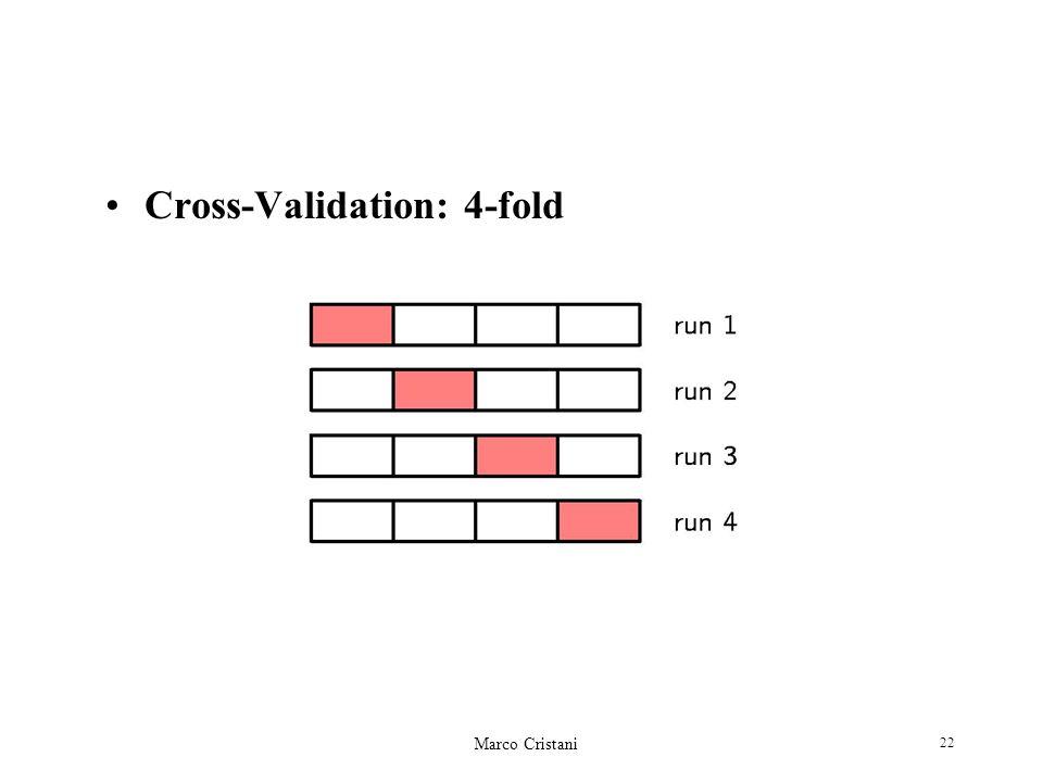 Marco Cristani 22 Cross-Validation: 4-fold