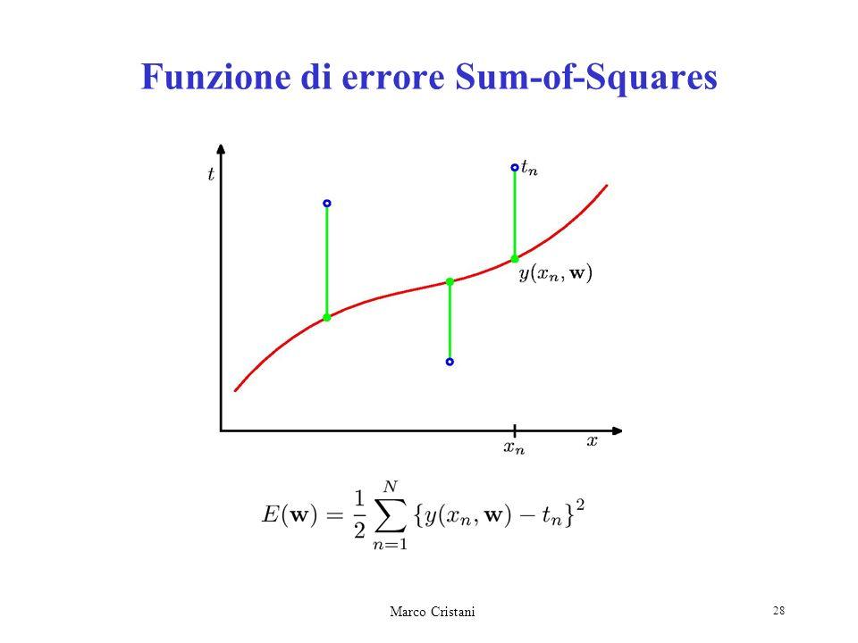 Marco Cristani 28 Funzione di errore Sum-of-Squares