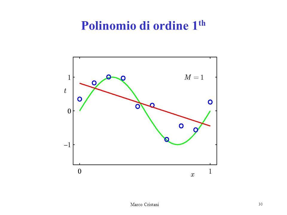 Marco Cristani 30 Polinomio di ordine 1 th