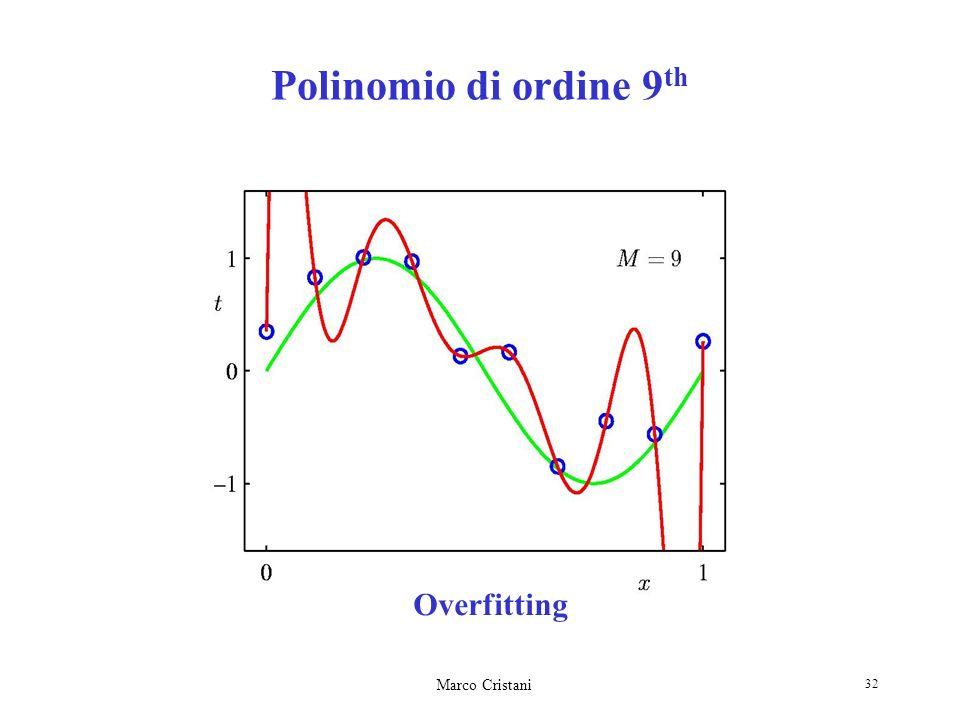 Marco Cristani 32 Overfitting Polinomio di ordine 9 th