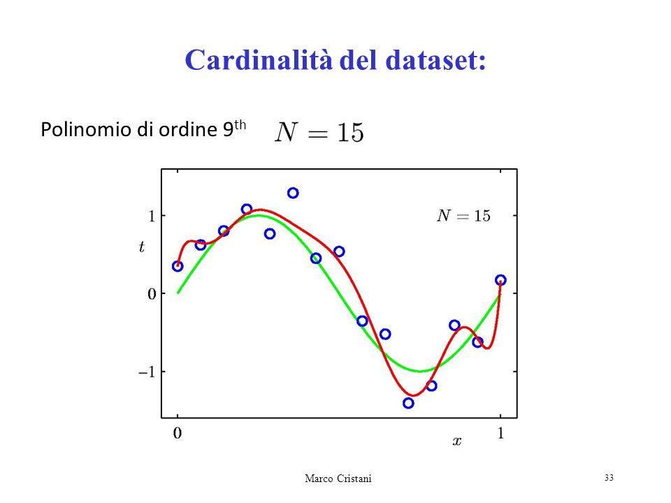 Marco Cristani 33 Cardinalità del dataset: Polinomio di ordine 9 th