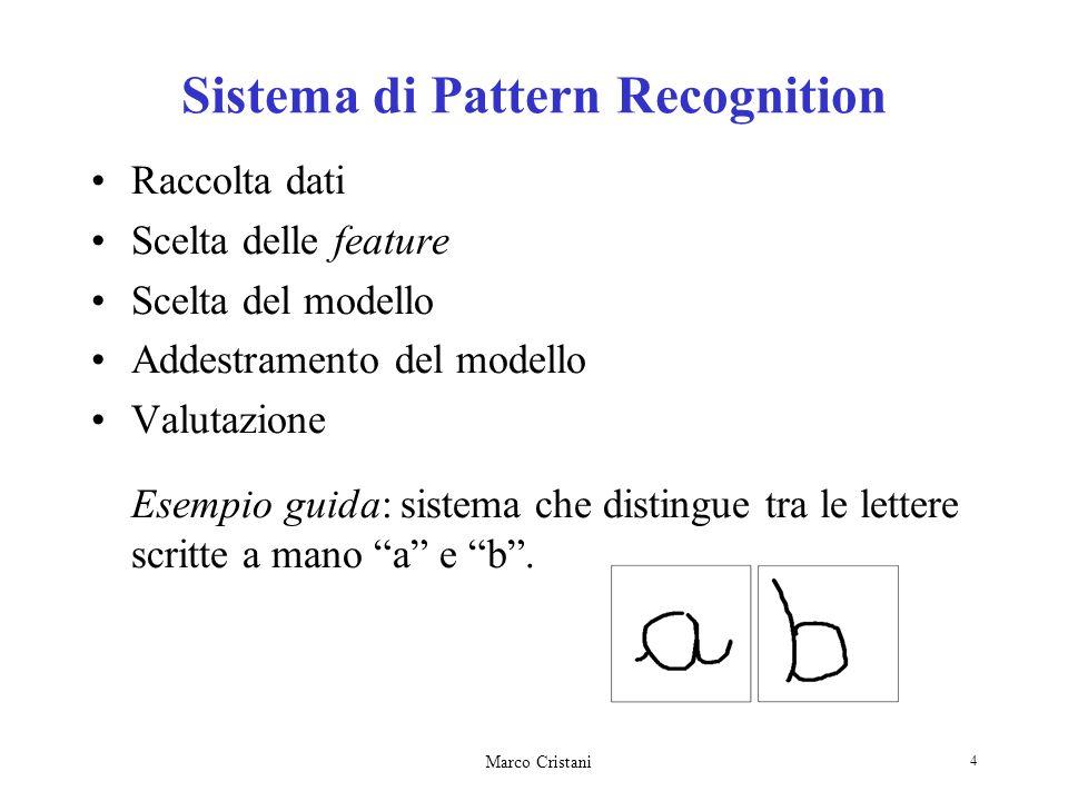 Marco Cristani 4 Sistema di Pattern Recognition Raccolta dati Scelta delle feature Scelta del modello Addestramento del modello Valutazione Esempio gu