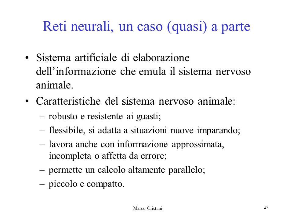 Marco Cristani 42 Reti neurali, un caso (quasi) a parte Sistema artificiale di elaborazione dellinformazione che emula il sistema nervoso animale. Car