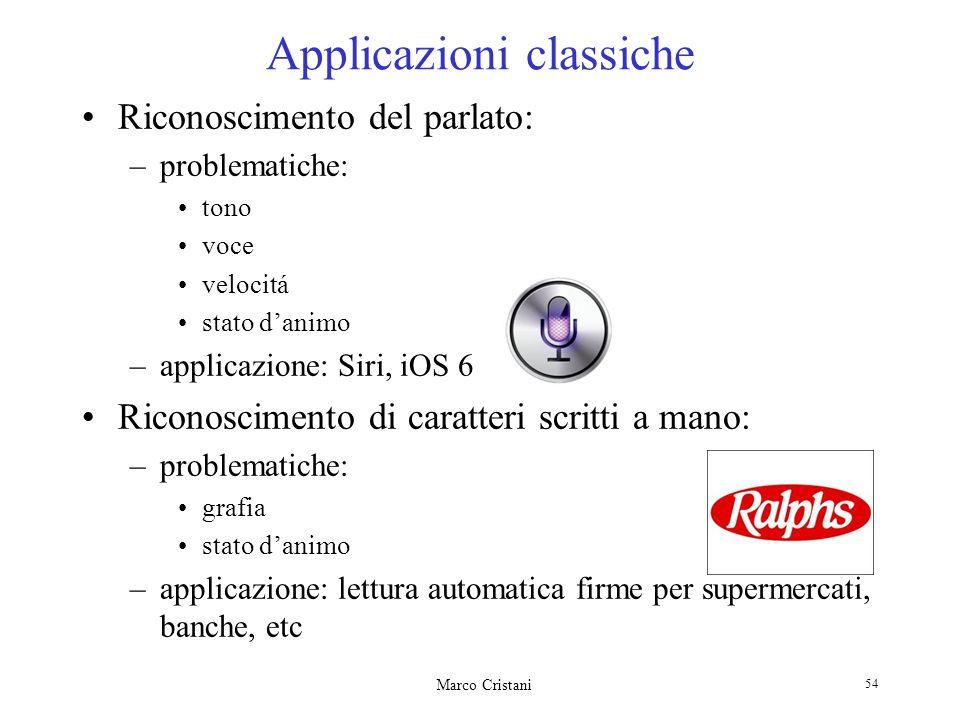 Marco Cristani 54 Applicazioni classiche Riconoscimento del parlato: –problematiche: tono voce velocitá stato danimo –applicazione: Siri, iOS 6 Ricono