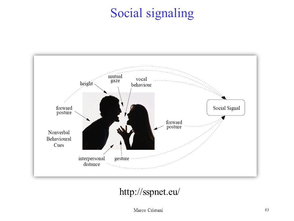 Marco Cristani 63 Social signaling http://sspnet.eu/