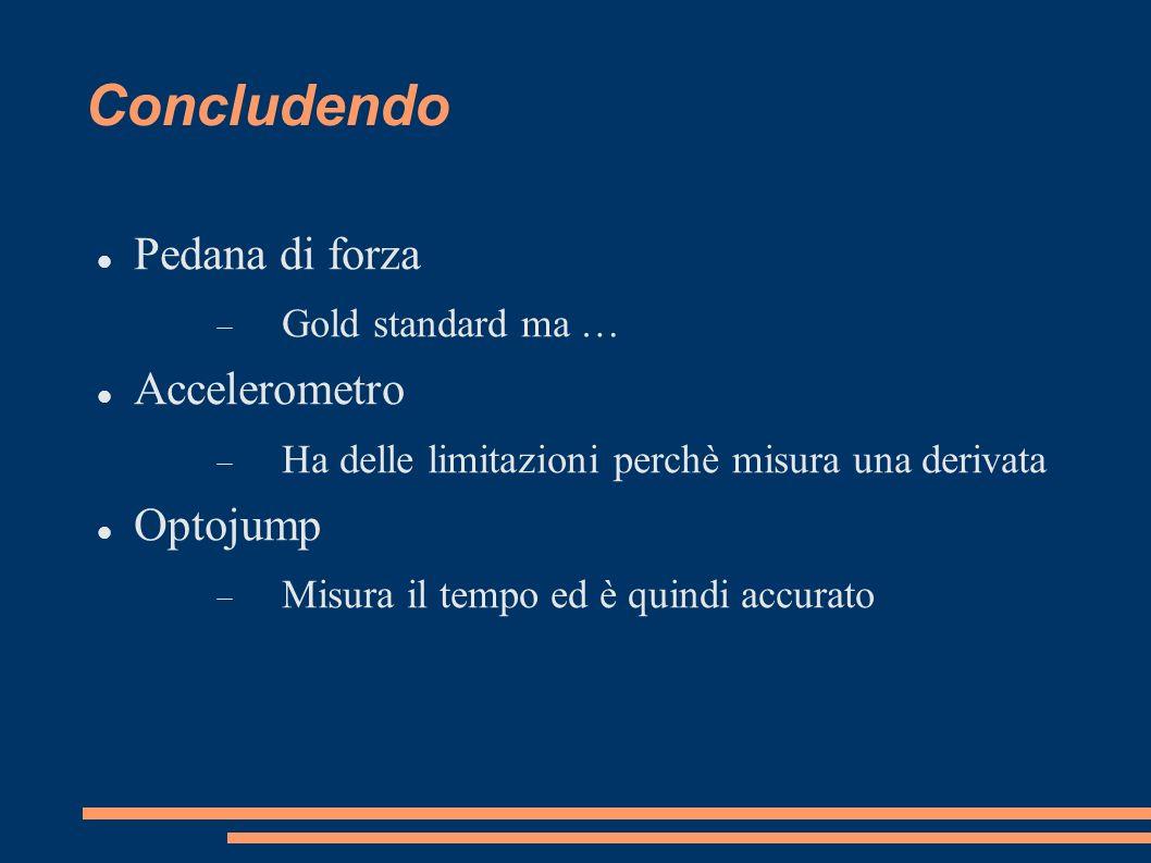 Concludendo Pedana di forza Gold standard ma … Accelerometro Ha delle limitazioni perchè misura una derivata Optojump Misura il tempo ed è quindi accu