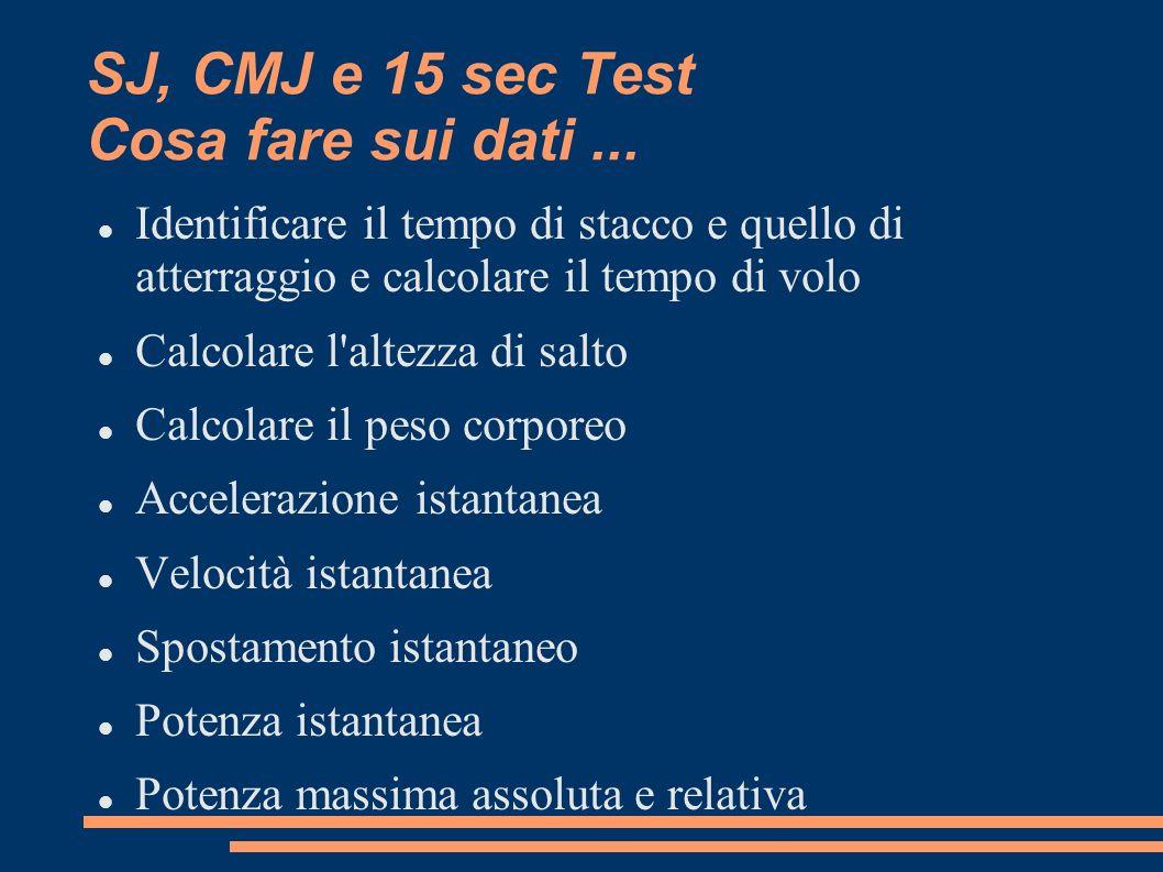 SJ, CMJ e 15 sec Test Cosa fare sui dati... Identificare il tempo di stacco e quello di atterraggio e calcolare il tempo di volo Calcolare l'altezza d