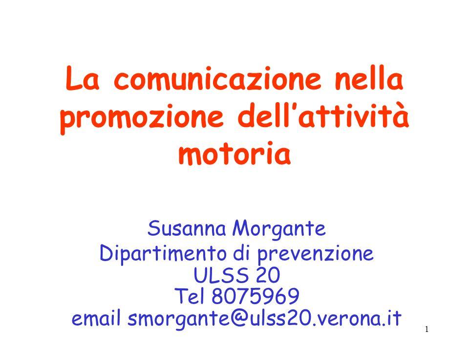 1 La comunicazione nella promozione dellattività motoria Susanna Morgante Dipartimento di prevenzione ULSS 20 Tel 8075969 email smorgante@ulss20.veron