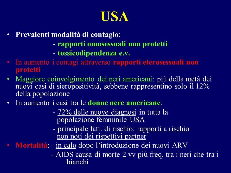 USA Prevalenti modalità di contagio: - rapporti omosessuali non protetti - tossicodipendenza e.v.
