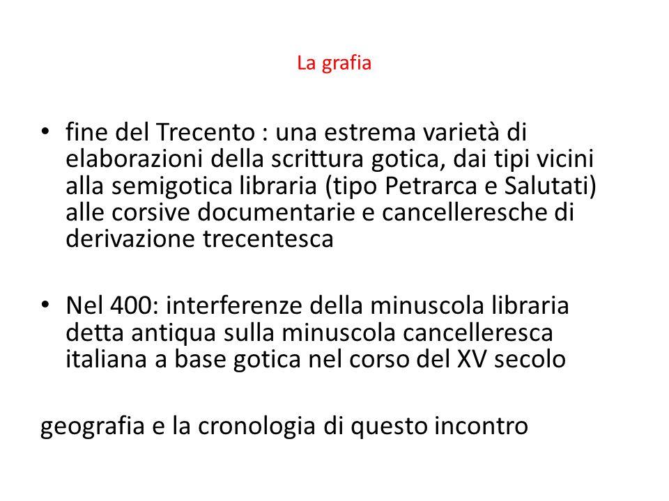 La grafia fine del Trecento : una estrema varietà di elaborazioni della scrittura gotica, dai tipi vicini alla semigotica libraria (tipo Petrarca e Sa