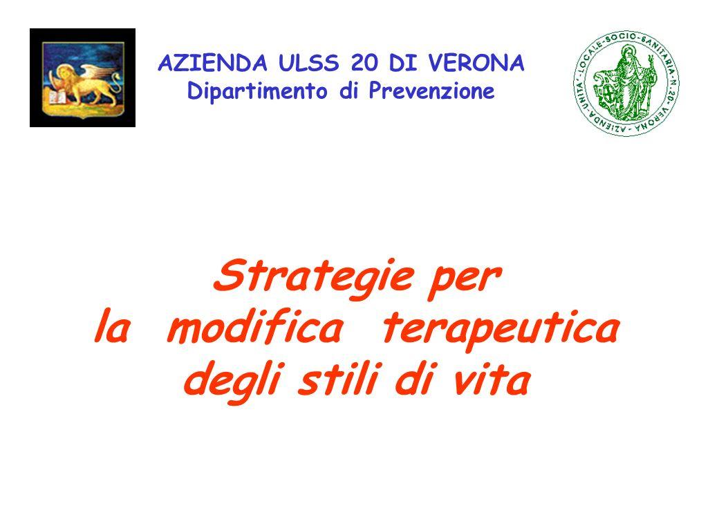 AZIENDA ULSS 20 DI VERONA Dipartimento di Prevenzione Strategie per la modifica terapeutica degli stili di vita