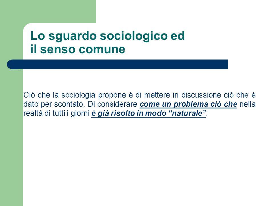 Lo sguardo sociologico ed il senso comune a) Come nasce un ruolo sociale.