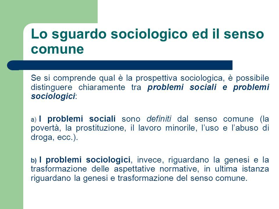 Lo sguardo sociologico ed il senso comune Se si comprende qual è la prospettiva sociologica, è possibile distinguere chiaramente tra problemi sociali