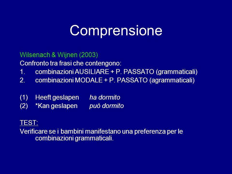 Comprensione Wilsenach & Wijnen (2003) Confronto tra frasi che contengono: 1.combinazioni AUSILIARE + P. PASSATO (grammaticali) 2.combinazioni MODALE