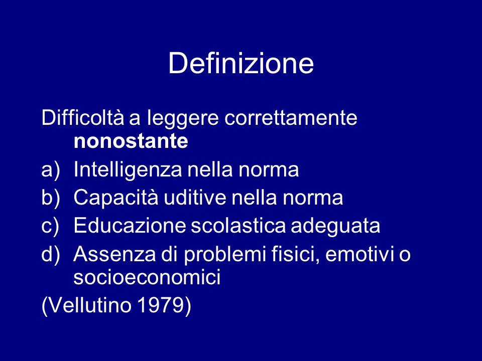 Definizione Difficoltà a leggere correttamente nonostante a)Intelligenza nella norma b)Capacità uditive nella norma c)Educazione scolastica adeguata d