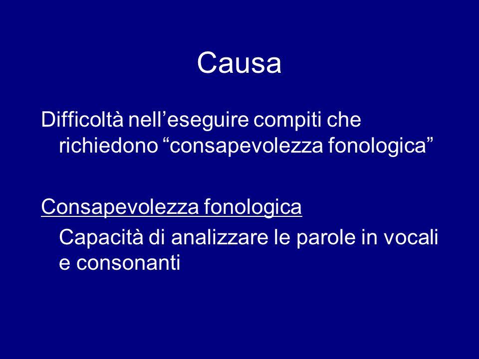 Causa Difficoltà nelleseguire compiti che richiedono consapevolezza fonologica Consapevolezza fonologica Capacità di analizzare le parole in vocali e