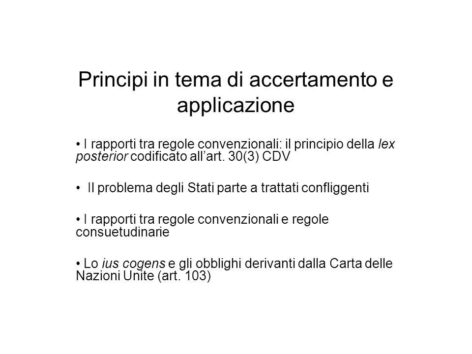 Principi in tema di accertamento e applicazione I rapporti tra regole convenzionali: il principio della lex posterior codificato allart. 30(3) CDV Il