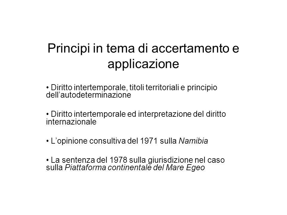 Principi in tema di accertamento e applicazione Diritto intertemporale, titoli territoriali e principio dellautodeterminazione Diritto intertemporale