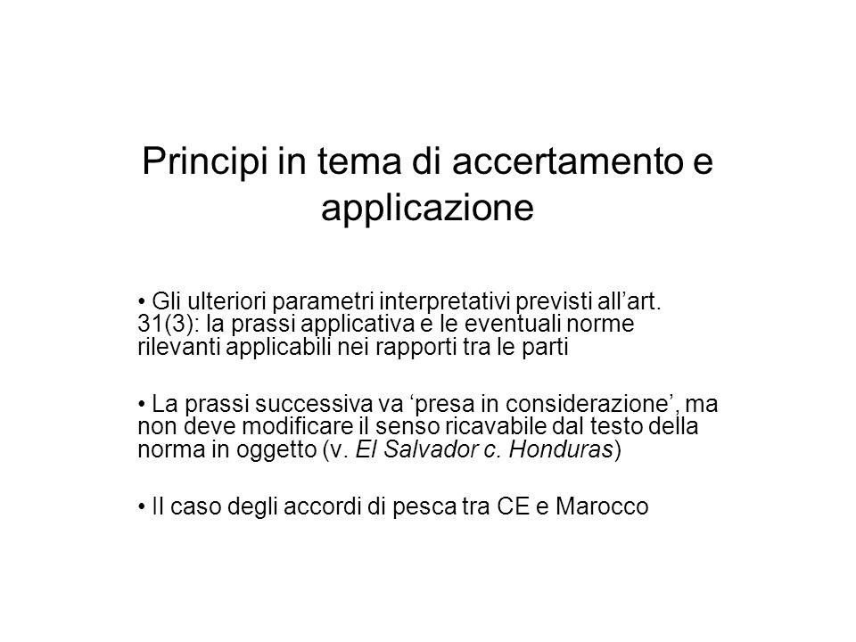 Principi in tema di accertamento e applicazione Gli ulteriori parametri interpretativi previsti allart. 31(3): la prassi applicativa e le eventuali no