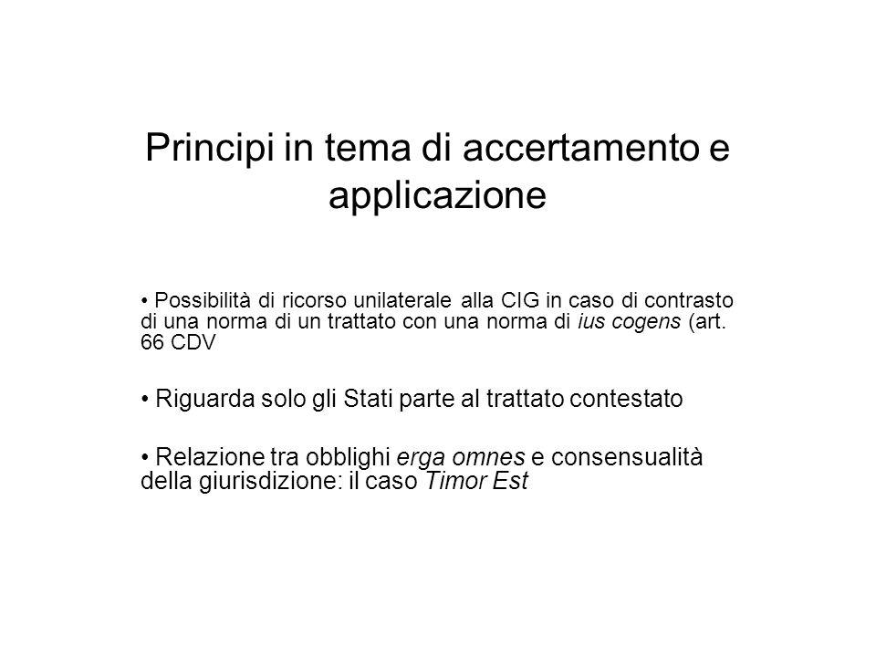 Principi in tema di accertamento e applicazione Possibilità di ricorso unilaterale alla CIG in caso di contrasto di una norma di un trattato con una n