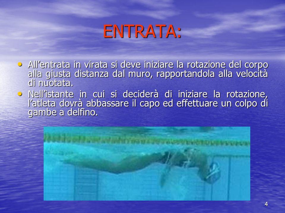 4 ENTRATA: Allentrata in virata si deve iniziare la rotazione del corpo alla giusta distanza dal muro, rapportandola alla velocità di nuotata.