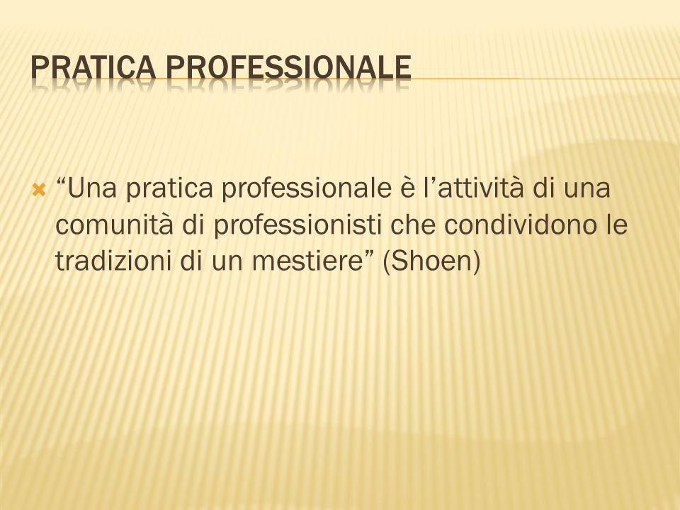 Una pratica professionale è lattività di una comunità di professionisti che condividono le tradizioni di un mestiere (Shoen)
