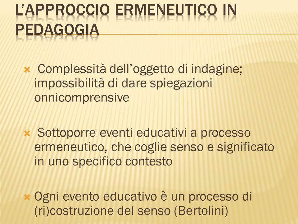 Complessità delloggetto di indagine; impossibilità di dare spiegazioni onnicomprensive Sottoporre eventi educativi a processo ermeneutico, che coglie senso e significato in uno specifico contesto Ogni evento educativo è un processo di (ri)costruzione del senso (Bertolini)