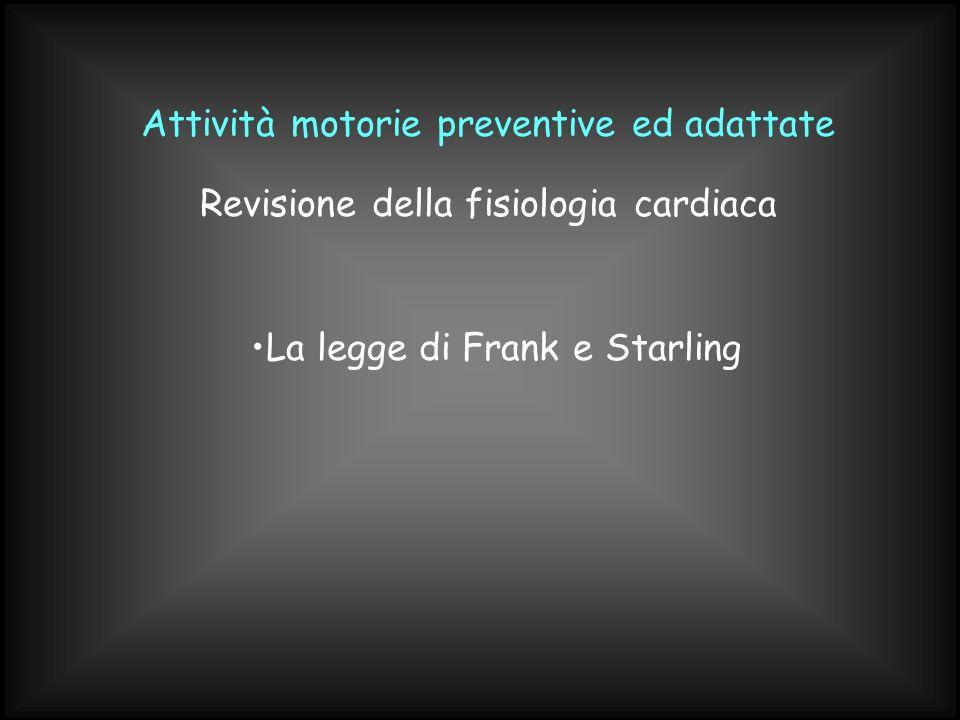 Attività motorie preventive ed adattate La legge di Frank e Starling Revisione della fisiologia cardiaca