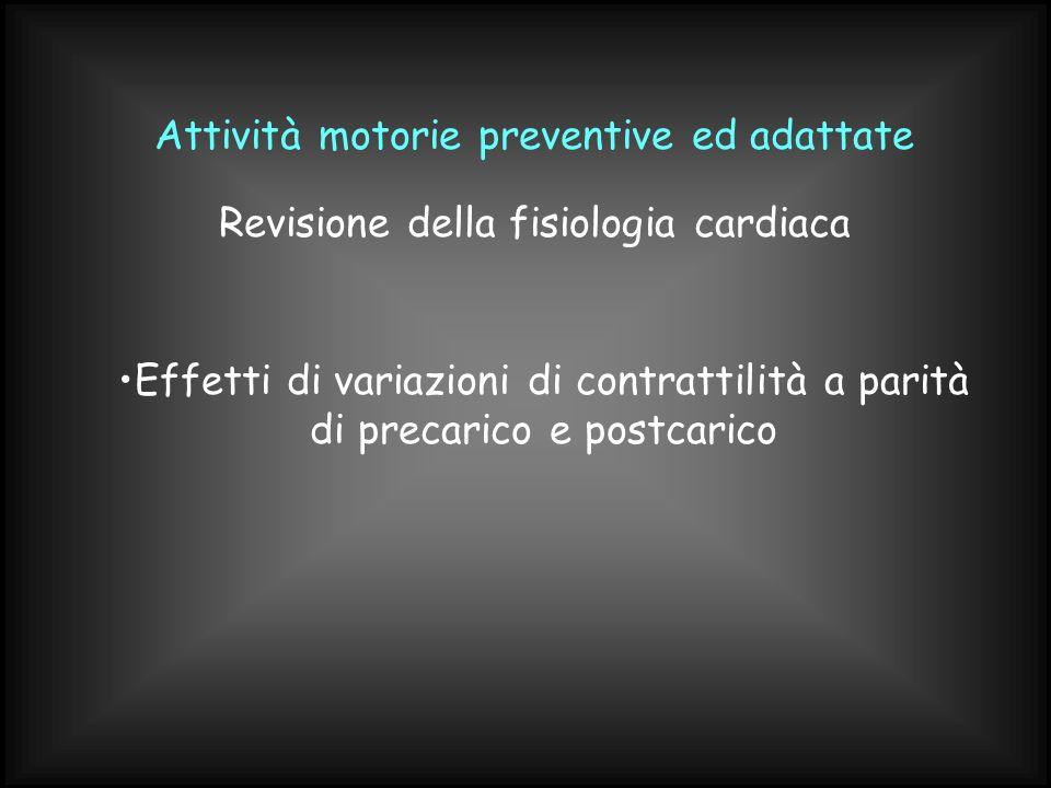 Attività motorie preventive ed adattate Effetti di variazioni di contrattilità a parità di precarico e postcarico Revisione della fisiologia cardiaca